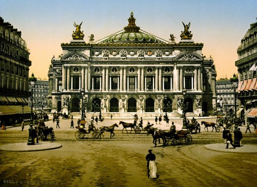 This photograph of the Paris Opera House (l'Opéra Garnier), circa 1890 to 1900, is in the public domain in the United States because it was published before January 1, 1923.