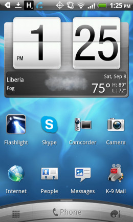 The main screen of an HTC Droid Incredible 2 phone showing two of the Android apps I highly recommend, including K-9 for Mail and the Dolphin Browser.