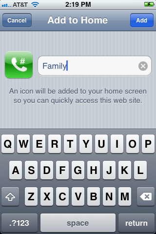 Enter a name for your speed dial icon.