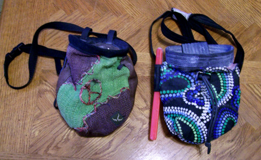 Several styles of chalk bags.
