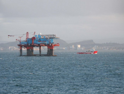 A Flotel or floating hotel oil platform, with living quarters on top the semi-submersible platform. Firth of Forth Burntisland, UK.
