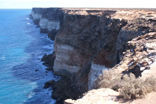 camera lookout at cliffs on nullabor Beware and stay away from unsafe edges washed out by the water below