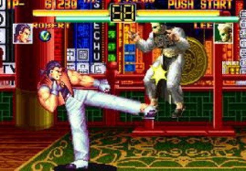 The King of Fighters was a video game for the Neo Geo that featured street fighting moves. It has a sequel and it's one of the best selling Neo Geo video games.
