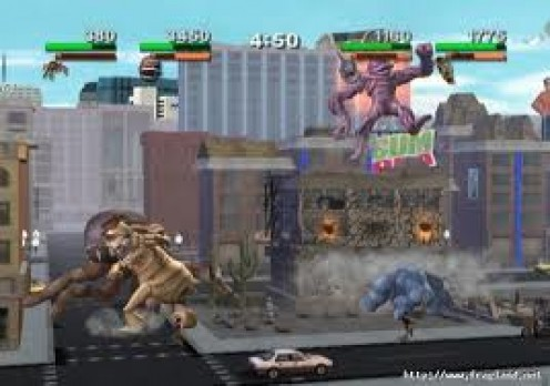 Rampage : Total Destruction was a game in which you play as a king kong or Godzilla type of imitation destroying the city.