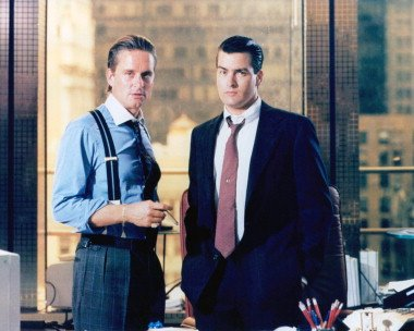 """""""Wall Street"""" reproduction poster print featuring Michael Douglas and Charlie Sheen."""
