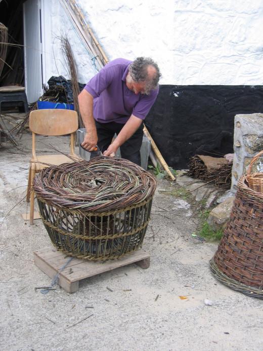 Making lobster pots.