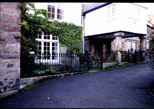 The porch of the Keigwin Arms where Squire Keigwin was killed in 1595.
