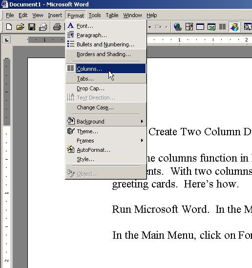 Fig 4.  Selecting Columns.