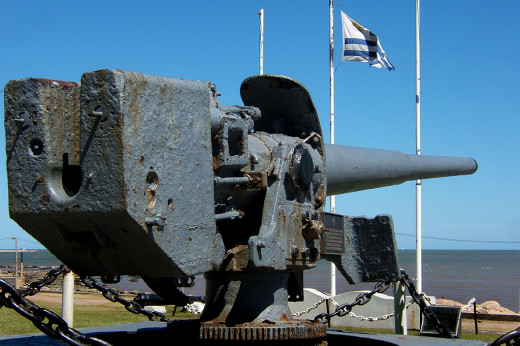 A gun from the Graf Spee, rescued from the wreck in present times, on view in Montevideo