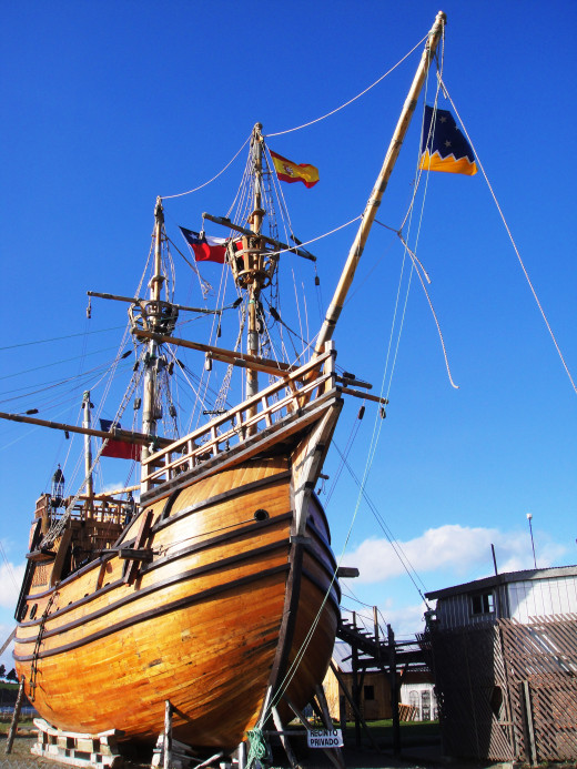 The Nao Victoria was the first ship to sail through the Straits of Magellan. This replica is on view in Punta Arenas