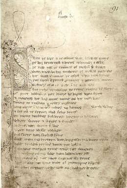 The first page of Sir Gawain and the Green Knight
