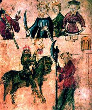 An old artistic depiction of scenes from Sir Gawain and the Green Knight