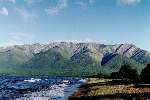 Mountains at Eastern shore of Lake Baikal, Svyatoy Nos Island (Holly Nose, top elevation 1877 m)