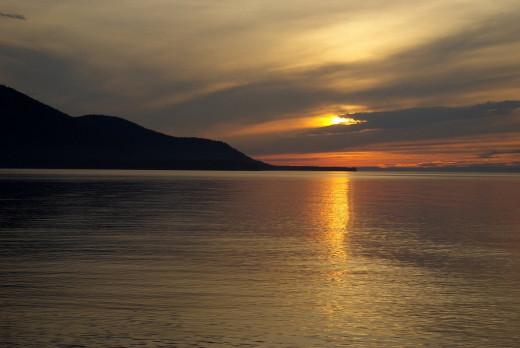 Sunset on Lake Baikal at Maksimikha, Buryatiya