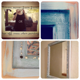 Distressed mirror with wire and beads
