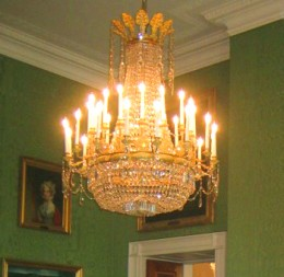 Early 19th century French cut-glass and ormolu chandelier in the Green Room of the White House