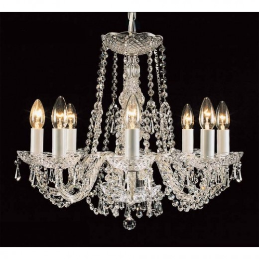Georgian 8 Light Crystal and Chrome Chandelier