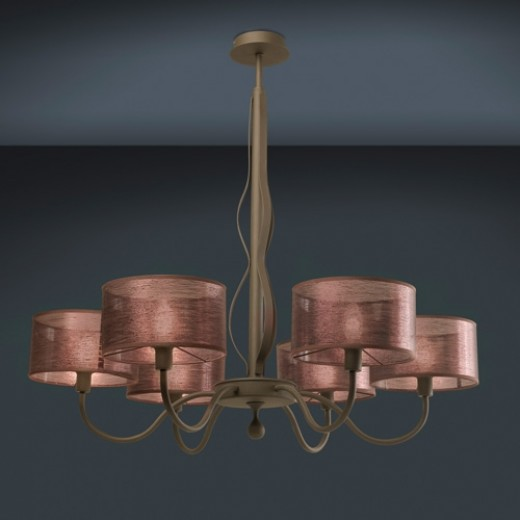Spica Large 6 Light Chandelier Fabric Shades