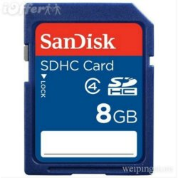 SDHC Memory Card.  Class 4 speed, storage capacity 8 Gigabytes.  Note the write protect switch is in the 'off'' position.