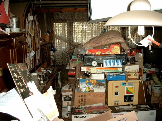 Example of a hoarders home when many items start to pile up over the years. Often they cannot make decisions about what to throw away.