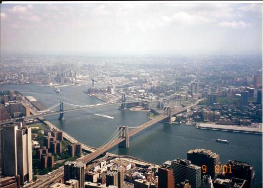 Looking towards the Brooklyn Bridge, Manhattan Bridge and the Willamsbug Bridge