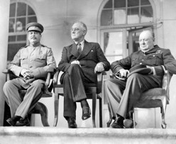 Stalin, Roosevelt and Churchill. Conference in Teheran 1943.