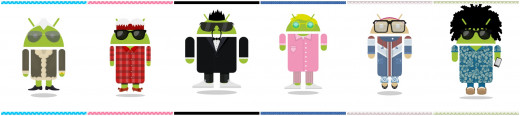 "I created all of these Androids using the Androidify app by Google.  The 6 Androids were then composed into this landscape photo using the Photo Grid HD ""Wide"" feature."