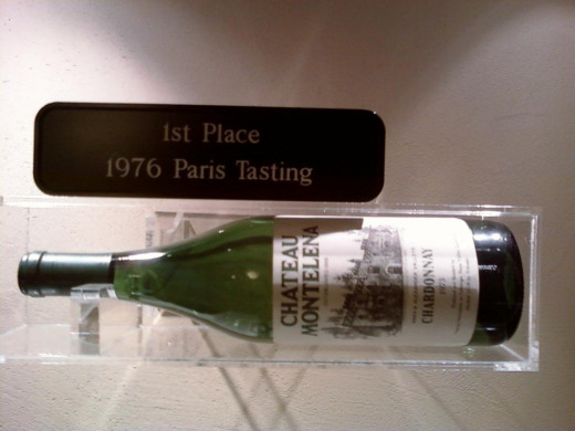 A showcased bottle of the contest-winning 1973 Chardonnay.