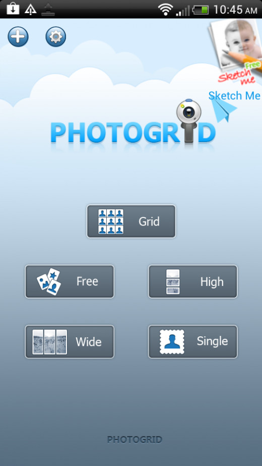 On the Photo Grid HD start screen you will asked to select what type of collage you want to make.