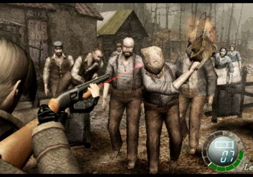 Screen shot of Leon fighting off infected villagers in Resident Evil 4