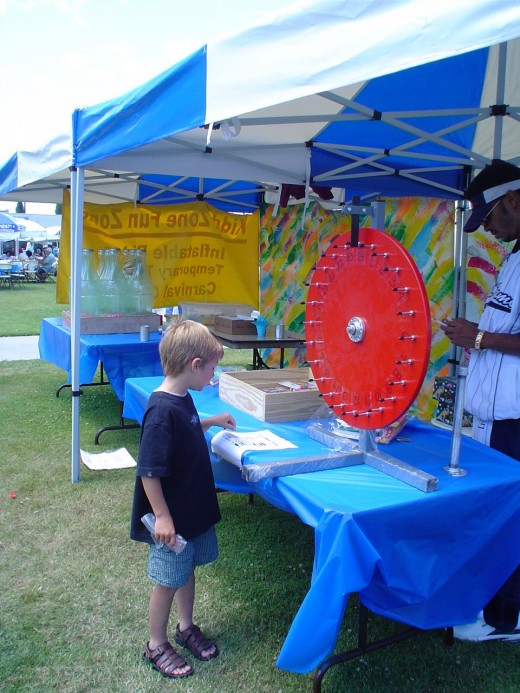 We use our wheel a lot, but it wasn't simple to make. If you make one, make the sign part double sided, so you can have numbers on one side, and prizes on the other for different events.