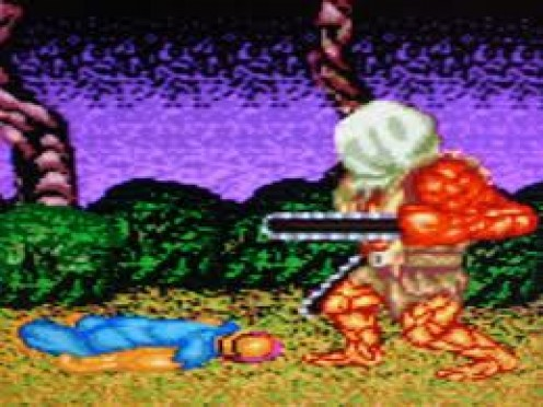 Splatter house was a side scrolling horror video game with lots of blood and gore. Shotguns, chainsaws and knives are just some of the weapons your character uses in this game.