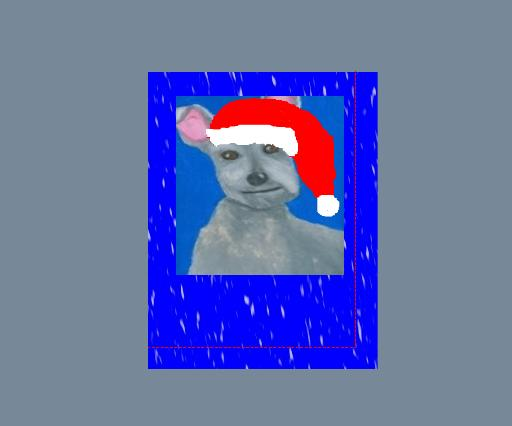 I added my favorite scotty dog drawing as the Focal Piece Of Clipart.  I used the print shop software to add a Christmas hat to my Scotty dog.