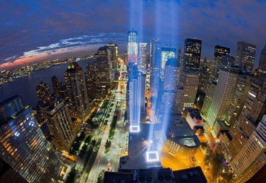 Beams of Light directed toward the sky where the towers once stood