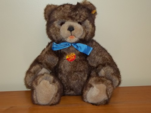 One of my few Steiff Teddy Bears, he was purchased at a toy store in Germany.