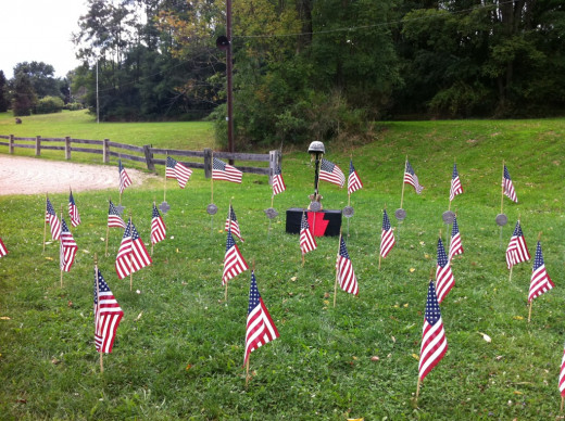Each flag represents a PA National Guard soldier who died whlle fighting the War on Terror.