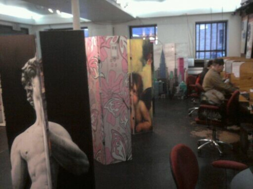 Double sided art print room dividers and folding screens