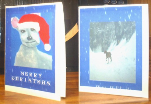 Use print shop software to create Christmas cards.