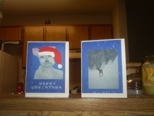 Two handmade Christmas cards.
