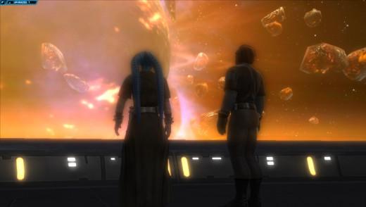 In orbit around a dead planet. The Jedi Knight story is still pretty epic.