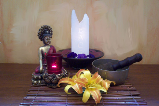 This is an example of an feng shui altar that can be used for  space clearing involving predecessor energy.