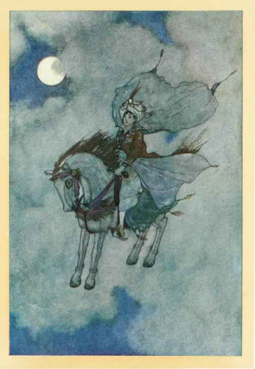 Arrogance led the king to consider trading his most beautiful young daughter for a flying horse. (The Story of the Magic Horse by Lawrence Housman in Stories from the Arabian Nights).