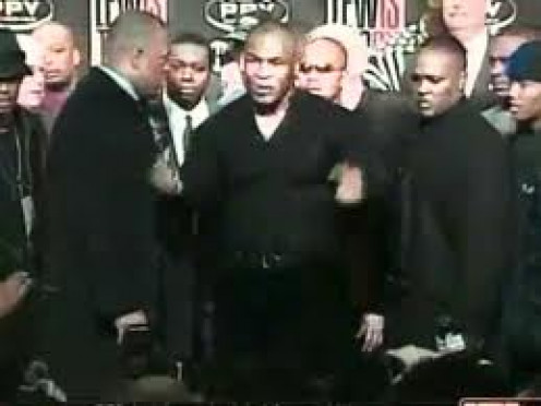 Mike Tyson Talks Trash in New York during his press conference with boxer Lennox Lewis after having a brawl with Lewis moments before.