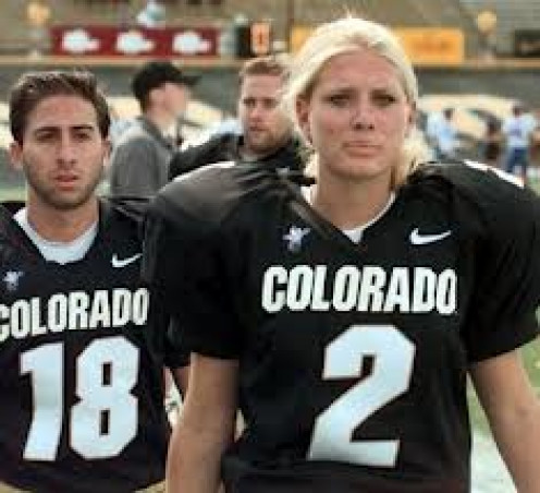 Katie Hnida, a once- kicker for Colorado.