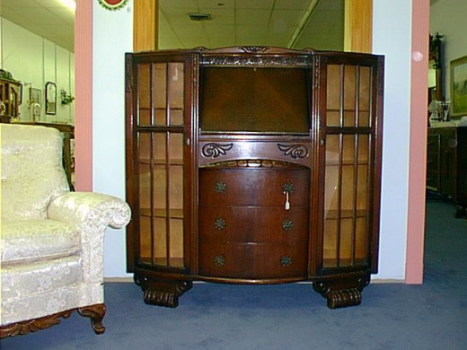 Secretary and glass front bookcase with drawers