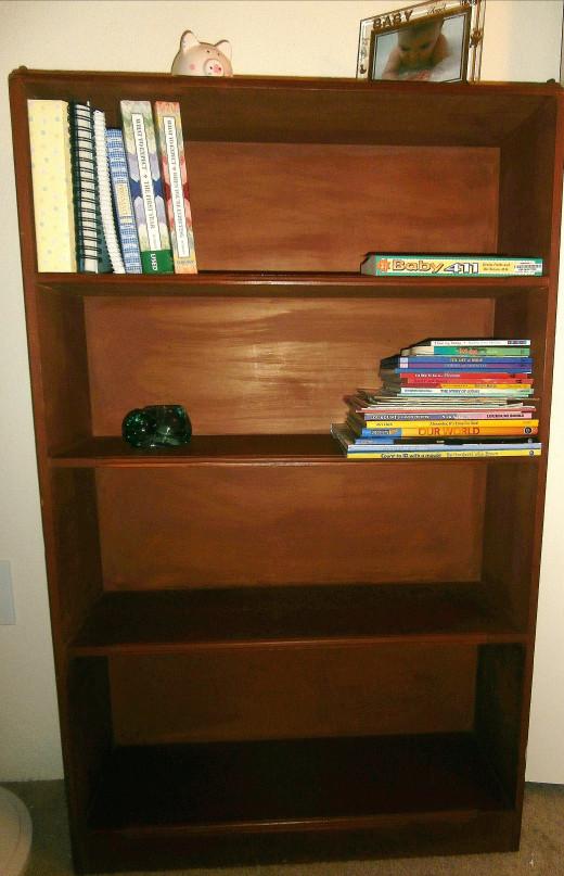Four-shelf wood bookshelf
