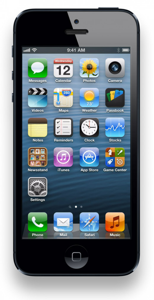 The iPhone 5's larger screen accommodates a fifth row of icons (the iPhone 4S only has four rows).