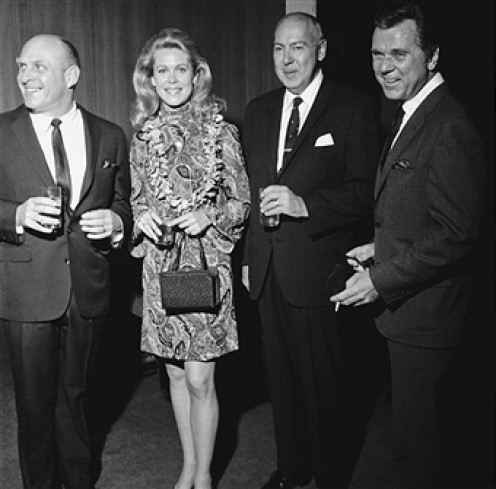 """(from left) William Asher, producer, """"Bewitched,"""" and ex-husband of Elizabeth Montgomery; Carl Reiner and Jackie Cooper."""