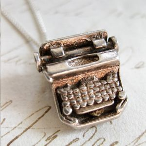 Writers Block – a vintage solid sterling silver typewriter charm with moving parts, hung from a 46cm dainty sterling silver necklace & finished with the sterling VJC tag.