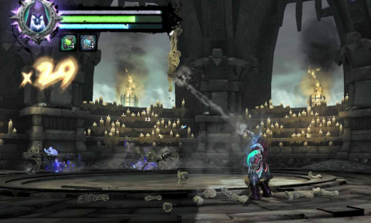 Darksiders 2 Defeat the Bonekeeper by shooting at it from Redemption. It is also necessary to clear the skeletons attacking the hero first to do this.